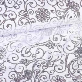 Terlenka pailletten wit met zilver/grijs