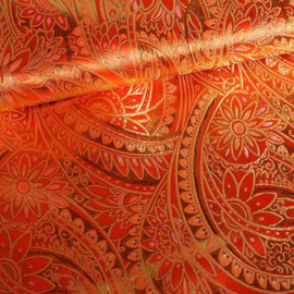 Jacquard fantasie bloem oranje met goud lurex
