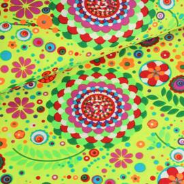 Terlenka bedrukt Hippie geel/lime