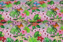Stenzo poplin 17182-12 vlinders en bloemen roze