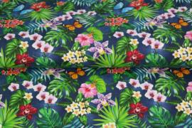 Stenzo poplin 17182-09 vlinders en bloemen blauw