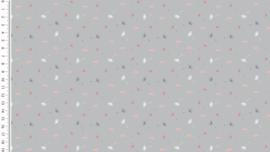 Poplin kleine paardenbloemetjes grijs