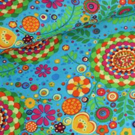 Terlenka bedrukt Hippie aqua