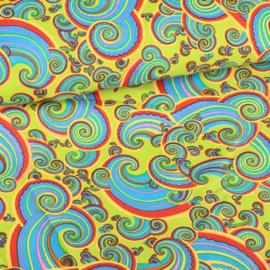 Terlenka bedrukt paisley multicolor lime