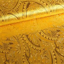 Jacquard fantasie bloem geel met goud lurex