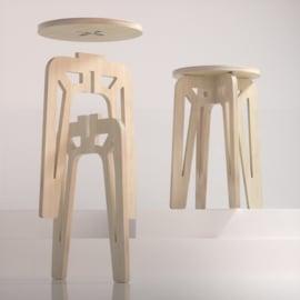 LEUK krukje/bijzet tafel - hout -blank/wit - 36 x 36 x 50