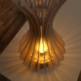 LEUK 3 in 1 lamellen lamp - hout -Blank - 30 x 15 x 15