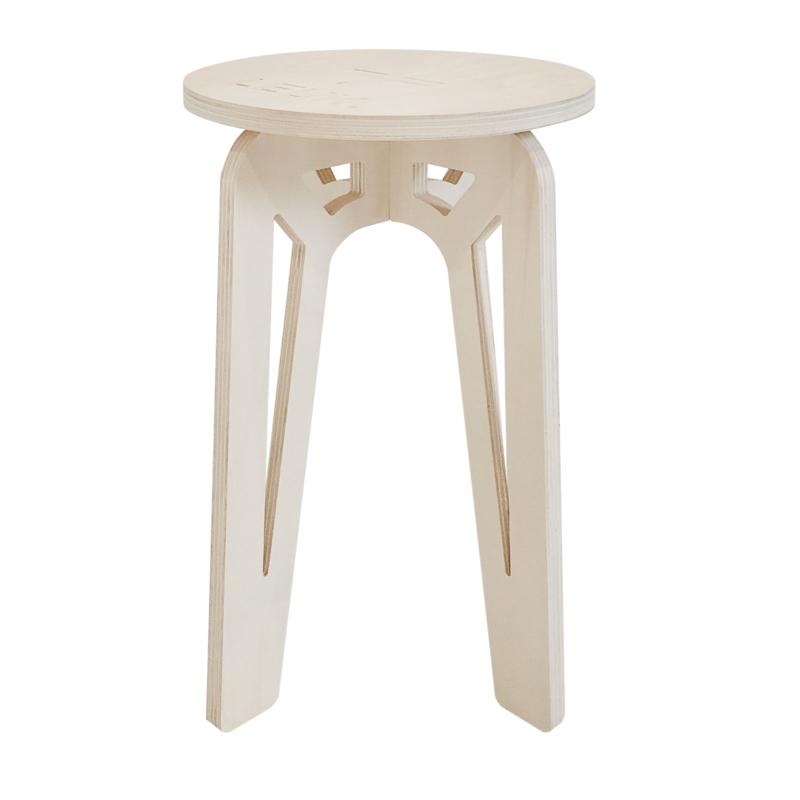 LEUK krukje/bijzet tafel - hout -Blank - 36 x 36 x 50