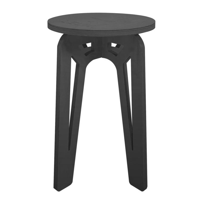 LEUK krukje/bijzet tafel - hout -zwart - 36 x 36 x 50