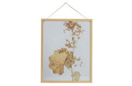Potpourri fotolijst bloemen met houten rand 50x40
