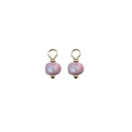 Oorbellen paar hangers | CLAY MARMER roze wit goud