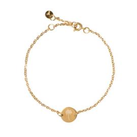 Chain coin armband palmtree goud