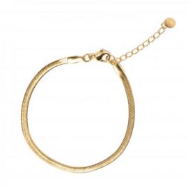 Flat snake armband goud
