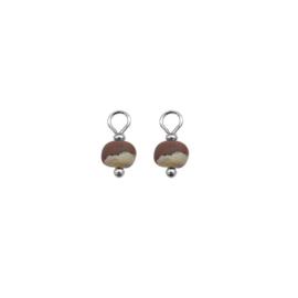 Oorbellen paar hangers | CLAY MARMER bruin zand zilver