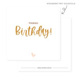Minikaartje 85x85 • Happy Birthday! (goudfolie)