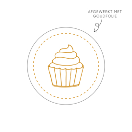 Sticker Cupcake, wit • Rol 500 stuks • ø40mm
