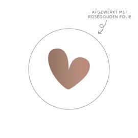 Sticker Hart, wit (roségoud) • Rol 500 stuks • ø40mm