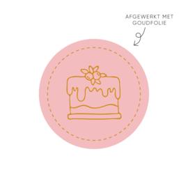 Sticker Taartje, roze • Rol 500 stuks • ø40mm