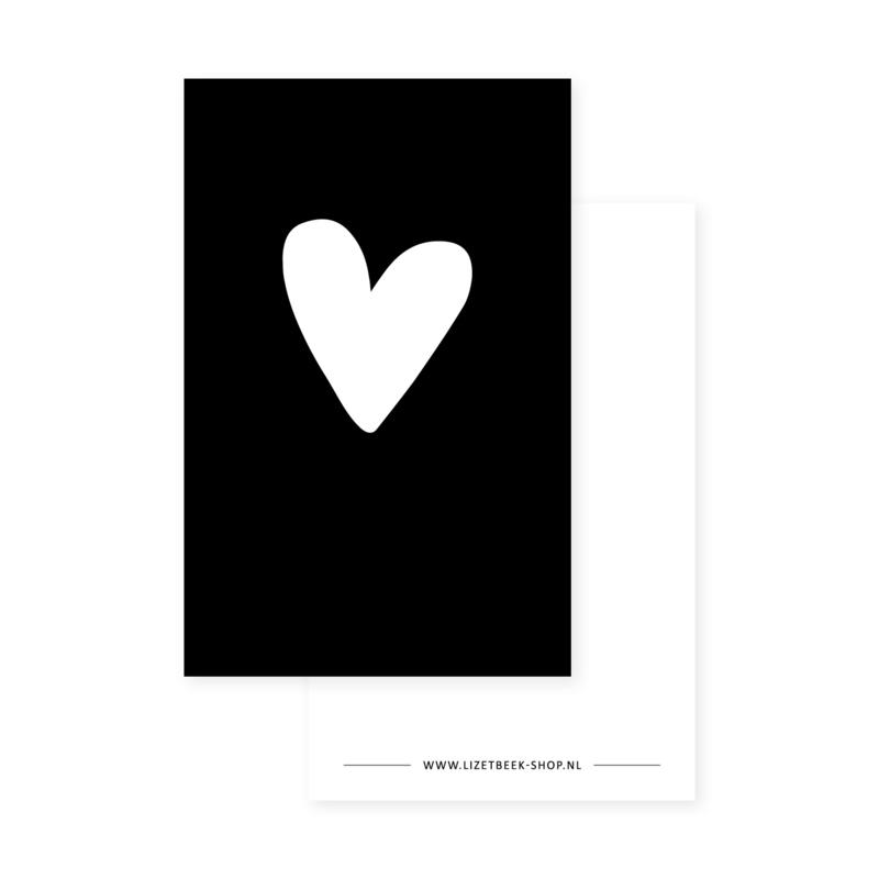 Minikaartje 85x55 • Hart z/w