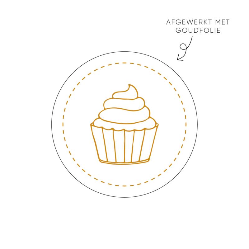Sticker Cupcake, wit • Rol 500 stuks • ø40mm
