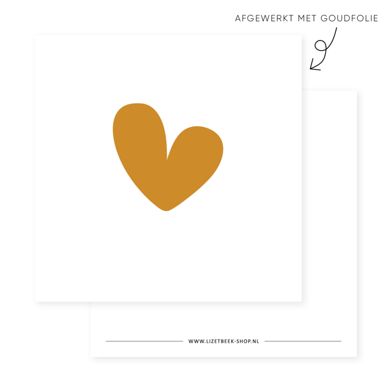 Minikaartje 85x85 • Hart (goudfolie)