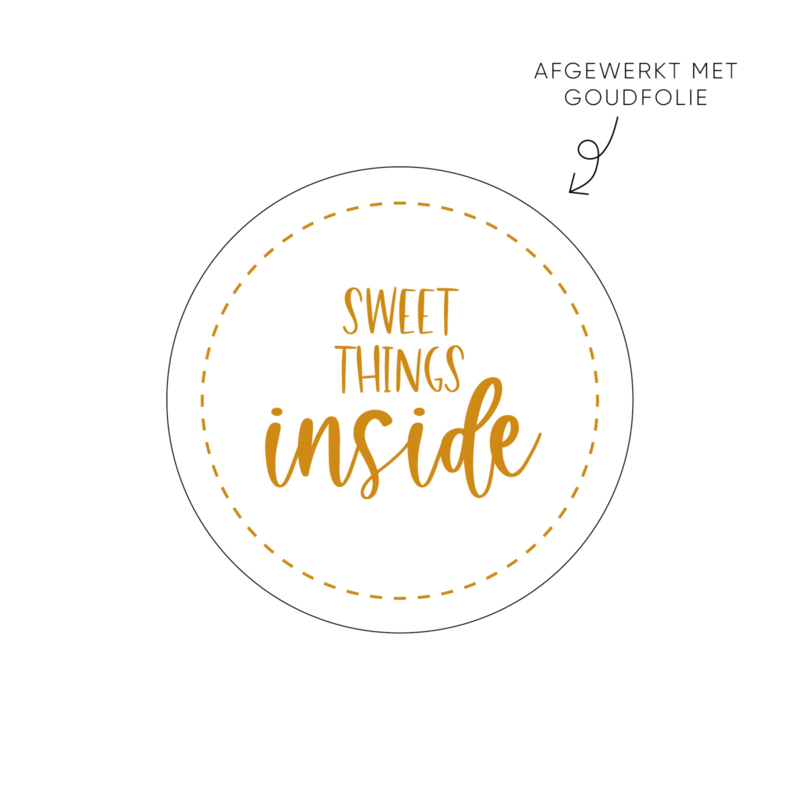 Sticker Sweet things inside • Rol 500 stuks • ø40mm