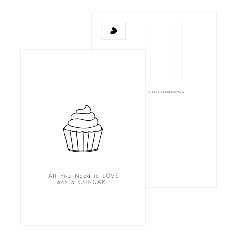 A6 Kaart • All you need is love and a cupcake