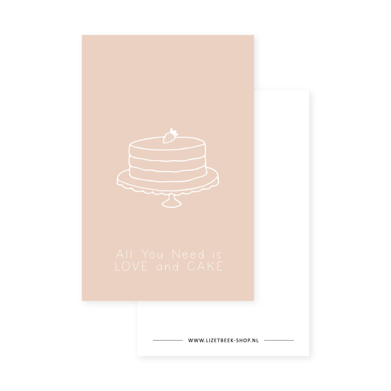 Minikaartje 85x55 • All you need is love and cake