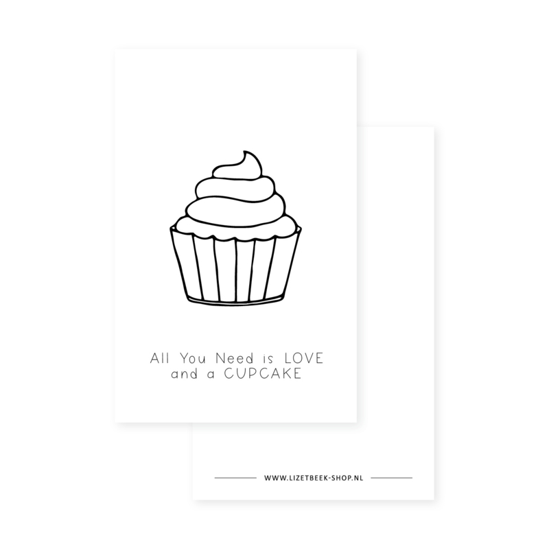 Minikaartje 85x55 • All you need is love and a cupcake