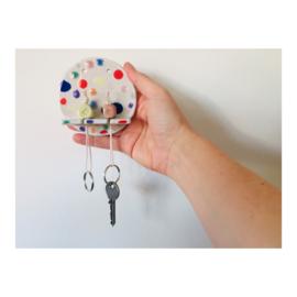 sleutelhouder (2 sleutels) - rond gespikkeld