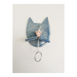 sleutelhouder - blauw katje