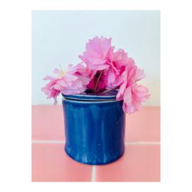 bloemenvaasje - rond donkerblauw