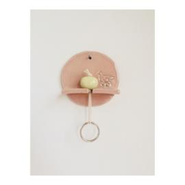 sleutelhouder - rond roze