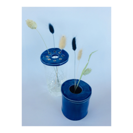 bloemenschijfje - rond donkerblauw