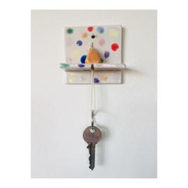 sleutelhouder - vierkant gespikkeld