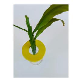 bloemenschijfje - rond geel