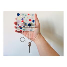 sleutelhouder (2 sleutels) - vierkant gespikkeld