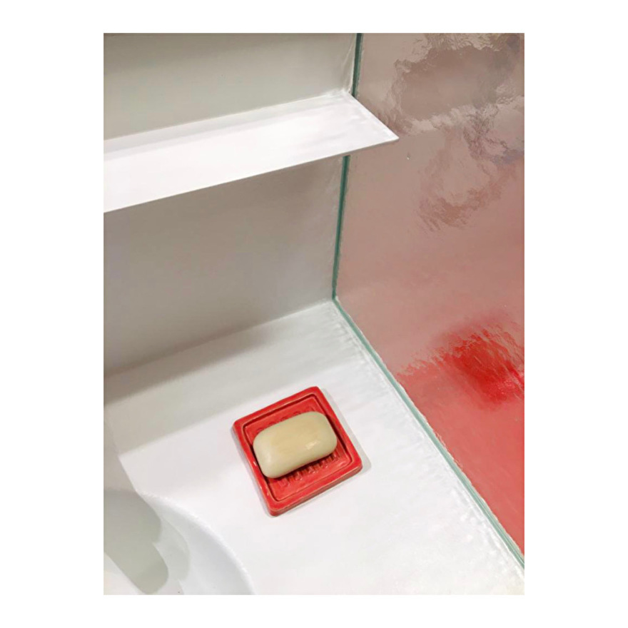 red square soap dish