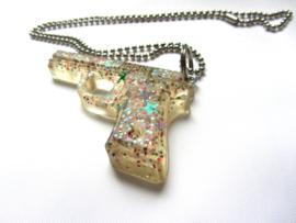 Ketting 'GUN' transparant glitters - Glitterator