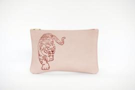 Leren etui Tijger pink  -  BY B+K