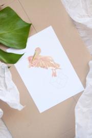 Roze Pelikaan kaart - Roosmarijn Knijnenburg
