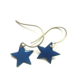 Oorbellen ster blauw- Petra Reijrink