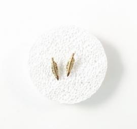 Oorbellen studs 'veertjes' goud of zilver