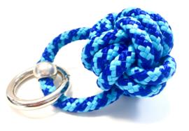 Sleutelhanger scheepsknoop paracord blauw/turquoise