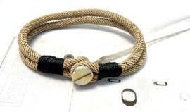 Heren armband beige koord met schroef sluiting