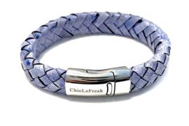 Armband gevlochten leer vintage blauw