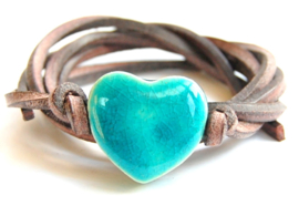 Armband leren veter met turquoise hart