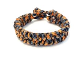 Armband gevlochten paracord zwart/grijs/oranje