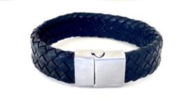 Heren armband gevlochten leer breed zwart