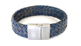 Heren armband gevlochten leer breed jeans